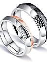 Men\'s Women\'s Couple Rings AAA Cubic Zirconia Fashion Simple Style Elegant Cubic Zirconia Titanium Steel Circle Jewelry Wedding
