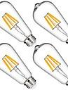 4pcs 6W 580lm Lampadas de Filamento de LED 6 Contas LED COB Regulavel Decorativa Branco Quente 110-130V