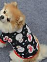 강아지 맨투맨 스웻티셔츠 강아지 의류 웜 크리스마스 크리스마스 새해 기하학적 블랙 화이트/블랙 코스츔 애완 동물