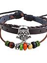 Men\'s Women\'s Leather Bracelet Strand Bracelet Handmade Hip-Hop Leather Wood Round Skull / Skeleton Jewelry For Casual Going out