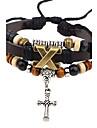Homme Bracelets en cuir Vintage Pierre Cuir Alliage Forme de Croix Forme Geometrique Bijoux Pour Decontracte Scene