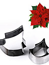 3Pcs/set Stainless Steel Poinsettia Flower Cookie Cutter Fondant Mold Cake Decorating Tools