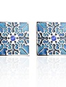 Flower Blue Cufflinks Copper Romantic New Year Men\'s Costume Jewelry