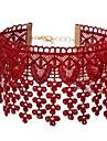Γυναικεία Κολιέ Τσόκερ Δαντέλα Λουλούδι κυρίες Απλός Γλυκός Κόκκινο Κολιέ Κοσμήματα 1 Για Καθημερινά Εξόδου Στολές Ηρώων
