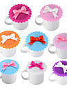 귀여운 나비 레이스 방수 재사용 가능한 컵 실리콘 뚜껑 단열 씰 컵 커버 1pcs 임의의 색상