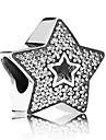 Joias DIY 1 pcs Contas Imitacoes de Diamante Liga Prata Estrela Bead 0.5 cm faca voce mesmo Colar Pulseiras