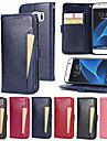 Θήκη Za Samsung Galaxy S7 edge S7 Utor za kartice Novčanik sa stalkom Zaokret Korice Jedna barva Tvrdo PU koža za S7 edge S7