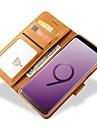 Funda Para Samsung Galaxy S9 Plus / S9 Cartera / Soporte de Coche / Antigolpes Funda de Cuerpo Entero Un Color Dura piel genuina para S9 / S9 Plus / S8 Plus