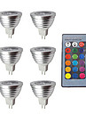 6pcs 3W 280lm MR16 LED Spot Lampen 1 LED-Perlen Abblendbar Dekorativ Ferngesteuert RGB 12V
