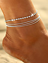 Crystal Layered Anklet - Bohemian, Bikini, Multi Layer Silver For Gift / Going out / Women\'s