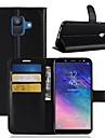 Capinha Para Samsung Galaxy A6+ (2018) / A6 (2018) Carteira / Porta-Cartao / Flip Capa Protecao Completa Solido Rigida PU Leather para A6