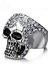 Cubic Zirconia Geometric Band Ring / Knuckle Ring - Skull Vintage 8 / 9 / 10 Silver For Party / Gift