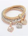 3stk Dame Flerlags Kæde & Lænkearmbånd Armbånd sæt Hjerte Damer Mode Flerlags Armbånd Smykker Guld Til Ceremoni Stævnemøde
