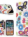 Kılıf Na Jabłko iPhone X / iPhone 8 Plus Portfel / Etui na karty / Z podpórką Pełne etui Motyl / Kwiat Twardość Skóra PU na iPhone X / iPhone 8 Plus / iPhone 8