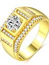 Homens Classico Fashion Anel Anel de Compromisso - Banhado a Ouro 18K, Imitacoes de Diamante Precioso Classico, Fashion, Hip-Hop 7 / 8 / 9 / 10 / 11 Dourado Para Noivado Encontro