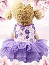 Σκυλιά / Γάτες / Μικρά τριχωτά κατοικίδια ζώα Φορέματα / Χριστούγεννα Διακόσμηση Ρούχα για σκύλους Ζακάρ / Λουλούδι / Κέντημα Βυσσινί / Ροζ Βαμβάκι / Μείγμα Λινού Στολές Για κατοικίδια Γυναίκα