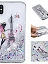 Maska Pentru Apple iPhone X / iPhone 8 Plus Scurgere Lichid / Model / Luciu Strălucire Capac Spate Turnul Eiffel / Luciu Strălucire Moale TPU pentru iPhone X / iPhone 8 Plus / iPhone 8