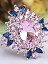 Women\'s Amethyst Layered Stylish Halo Statement Ring Ring Copper Platinum Plated Imitation Diamond Flower Ladies Classic Hyperbole French Ring Jewelry Pink For Wedding Party Evening Party Masquerade