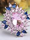 בגדי ריקוד נשים אמתיסט שכבות מרובות מסוגנן HALO טבעת הצהרה טבעת נחושת מצופה פלטינום יהלום מדומה פרח נשים קלסי הַגזָמָה French Fashion Ring תכשיטים ורוד עבור חתונה Party