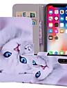 Кейс для Назначение Apple iPhone X / iPhone 8 Plus Кошелек / Бумажник для карт / со стендом Чехол Кот Твердый Кожа PU для iPhone X / iPhone 8 Pluss / iPhone 8