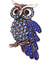 Women\'s Stylish Brooches Rhinestone Owl Ladies Stylish Classic Brooch Jewelry Blue For Daily