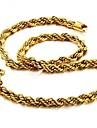 Hombre Elegante Collar Chapado en oro 18K Chapado en Oro Creativo Moda Cool Dorado 60 cm Gargantillas Joyas 1pc Para Regalo Diario