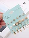 Women\'s Stylish Geometric Earrings Set - Imitation Pearl, Rhinestone Twist Circle Simple, European, Fashion Gold For Causal