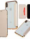 Custodia Per Apple iPhone XR / iPhone XS Max Porta-carte di credito / Placcato / Con chiusura magnetica Integrale Tinta unita Resistente pelle sintetica per iPhone XS / iPhone XR / iPhone XS Max