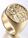 Men\'s Stylish Sculpture Engraved Ring Signet Ring Titanium Steel Steel Stainless Tree of Life Stylish Unique Design Punk Ring Jewelry Champagne For Daily Street 8 / 9 / 10 / 11 / 12