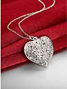 للمرأة مجوّف قلائد الحلي - S925 فضة قلب, الحب موضة فضي 45 cm قلادة مجوهرات 1PC من أجل زفاف, حزب, يوميا