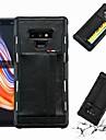 ケース 用途 Samsung Galaxy Note 9 カードホルダー / 耐衝撃 バックカバー ソリッド ハード PUレザー のために Note 9 / Note 8