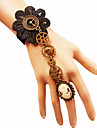 Women\'s Braided Ring Bracelet / Slave bracelet - Flower, Gear Hyperbole, Gothic, Steampunk Bracelet Black For Carnival Masquerade