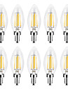 YWXLIGHT® 4 W Luces LED en Vela Bombillas de Filamento LED 300-400 lm E14 C35 4 Cuentas LED COB Regulable Blanco Calido Blanco 220-240 V, 10pcs